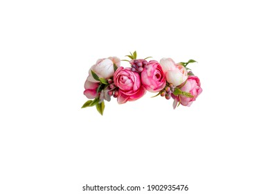 pink flower wreath of artificial roses isolated on white background