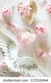pink flowers & angel wings