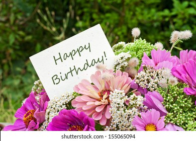 pink flowers and birthday card/happy birthday/english