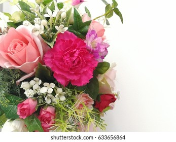 Pink flowers bouquet on white background