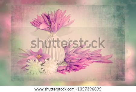 Shabby Chic Colors Style : Pink flowers bouquet pastel colors shabby stock photo edit now