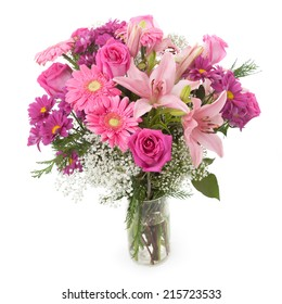 Pink flowers bunch in a vase. Gypsophila, Rose, Chrisanthemum and Lily.