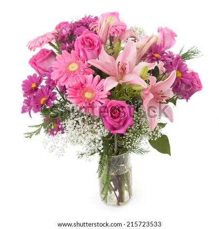 Pink Flowers Bunch Vase Gypsophila Rose Stockfoto Jetzt Bearbeiten