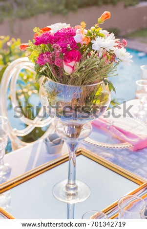 Pink Flowers Large Wine Glass Vase Stock Photo Edit Now 701342719