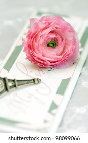 pink flowers on the board