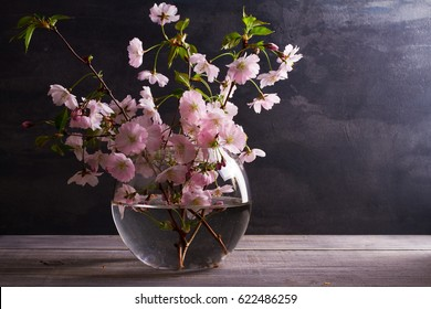 Pink flowers in vase on gray wooden background. Springtime blooming. Flower bouquet