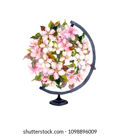 Pink flowers in world globe. Vintage  floral ball. Watercolour