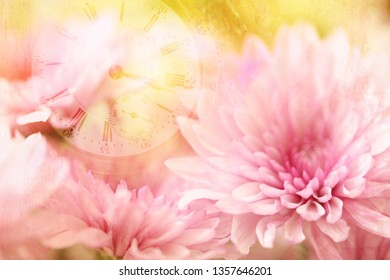Pink flowers with a yellow blurred background and a transparent layer of a watch to represent time.