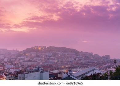 Pink foggy sunrise over Lisabon, Portugal