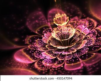 Pink fractal flower with golden glittering pollen, digital artwork for creative graphic design