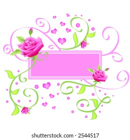 Pink frame with roses and hearts