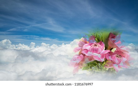 Pink fresh lotus flowers bouquet on floating white clouds and blue sky with copy space for writing words. Wallpaper template for Buddhism day, Vesak Puja, Buddhist Lent, Buddha event concept.