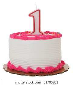 Pink Frosted 1st Year Birthday Cake on Isolated Background