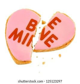 Pink Frosted Be Mine Heart Cookie - Broken Heart
