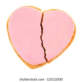 Pink Frosted Heart Cookie - Fractured Heart
