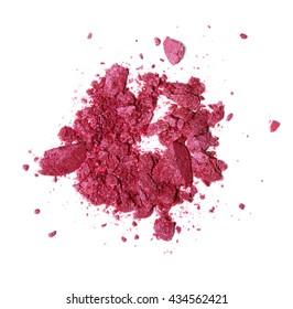 pink fuchsia crashed eyeshadow and blush on white background