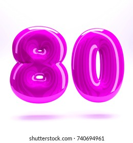 Pink fuchsia glossy celebrate letter number eighty 80 bold and uppercase. 3D render font painted with pink fuchsia polish and light reflection isolated on white background with clear shadow