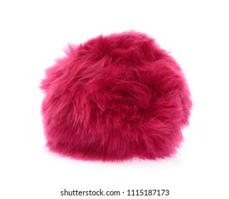 Pink Fur ball isolated on white background