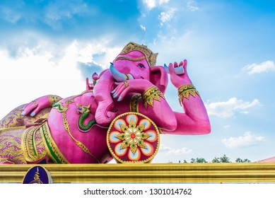 Pink Ganesha statue at the Wat Saman Rattanaram near Bangkok in Thailand.