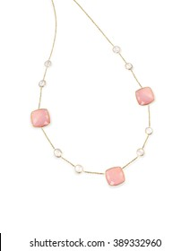 Pink Gemstone diamond necklace with chain isolated on white