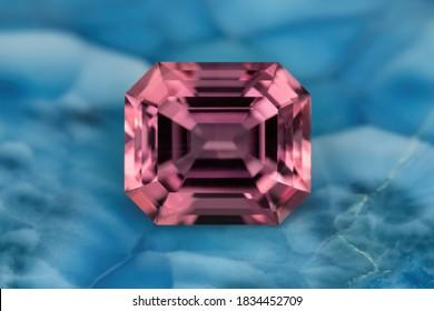 Pink Gemstone Tourmaline shiny mineral