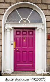 Pink georgian doors in Dublin