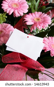 Pink gerbera bouquet with blank gift tag