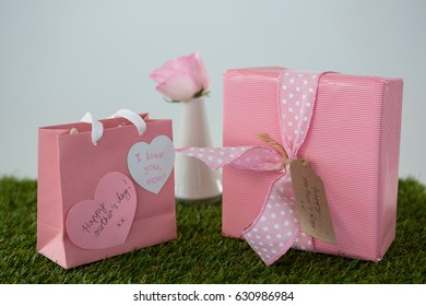 Pink gift bag, gift box with heart shape tag on grass