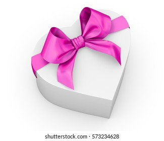 pink gift box in heart shape ribbon Valentine day concept with bow 3d rendering
