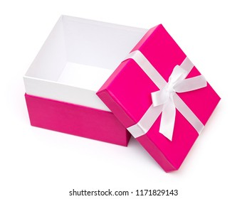 Pink gift box with ribbon bow. Holiday present. Isolated on white background