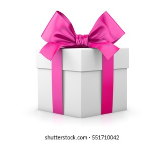 pink gift box valentine day concept white background 3d rendering