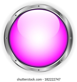 Pink glass button on white