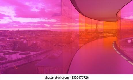 Pink glass room overlooking Aarhus, Denmark