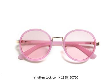 rosafarbene Brille auf einzeln auf weißem Hintergrund
