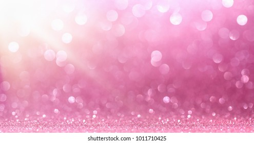Pink Glitter With Sparkle Of Lights And Stars