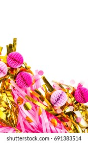 Pink and Gold Abstract festive decoration background with copy space. Flat lay.  Holiday concept