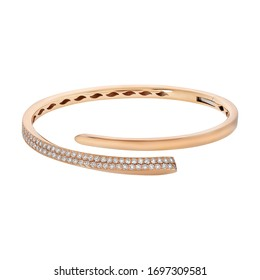 Pink gold bracelet with diamonds isolated on white background
