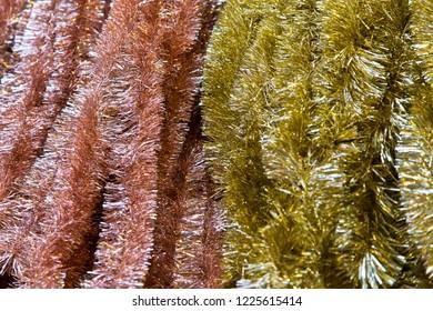 Pink and golden garlands