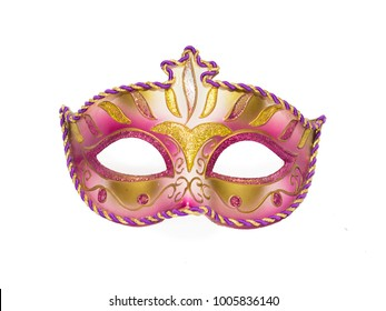 Pink and golden mask for the Venetian carnival isolated on white background
