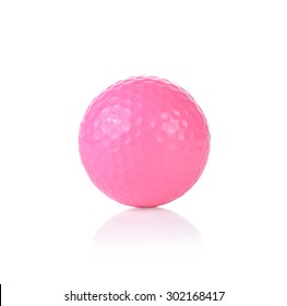 pink Golf ball, isolated on white background