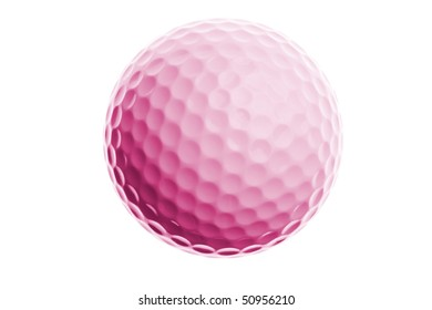pink golf ball isolated on white background