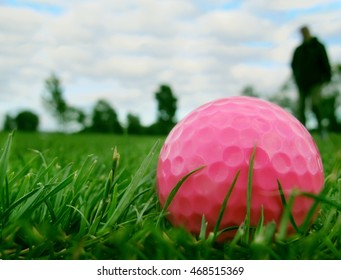pink golf-ball on course