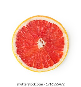 Pink grapefruit cut in half isolated on white with clipping path.