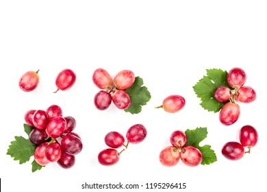 pink grapes isolated on the white background with copy space for your text. Top view. Flat lay pattern