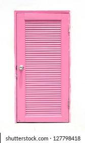 pink Greek Style door on wall