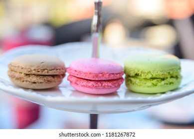 Pink, Green and Brown macarons for relaxing time