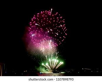 pink green fireworks Sydney harbor