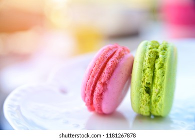 Pink and Green macarons for relaxing time