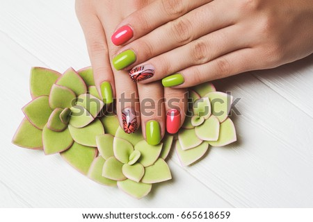 Pink Green Nail Art Butterfly On Stock Photo Edit Now 665618659