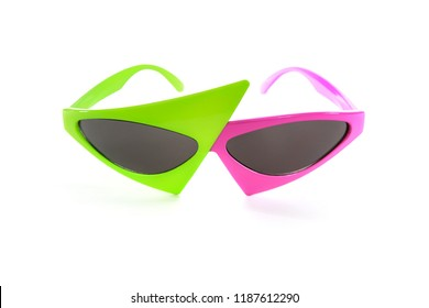 Pink and green trendy hip hop asymmetrical glasses, 1980's style